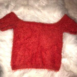 Fuzzy red off the shoulder crop top